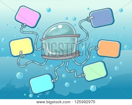 Illustration Featuring Colorful Boards Connected to a Submarine