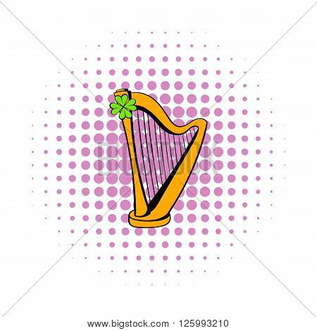 Golden harp and four-leaf clovericon in comics style isolated on white background