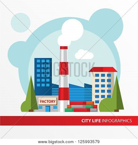 Factory building icon in the flat style. Industrial factory building. Concept for city infographic. Different types of industry of the city in the flat style.