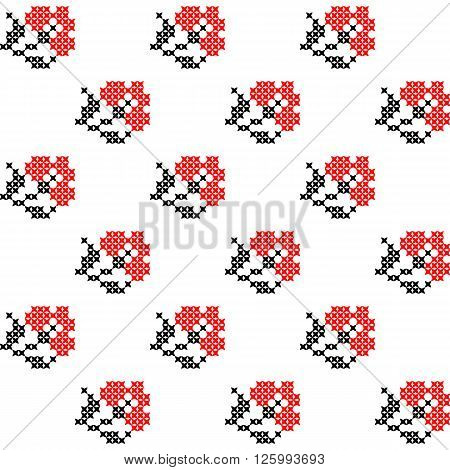 Seamless isolated texture with abstract red embroidered carnations with leaves for tablecloth. Embroidery. Cross stitch.