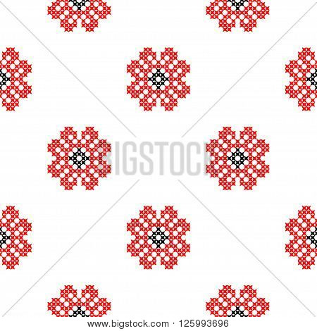 Seamless isolated texture with abstract red embroidered roses for tablecloth. Embroidery. Cross stitch.