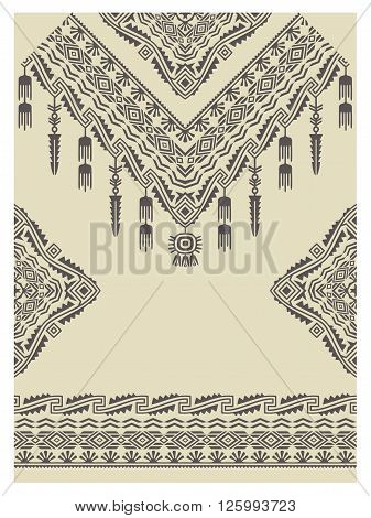 Design neckline, sleeves and border in ethnic style. Bohemian chic style. Native american indian ornaments for decorations and fabrics. Vector embellishment.