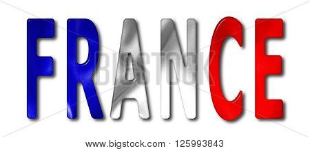 France word with a bevelled flag texture on an isolated white background with a clipping path with and without shadows