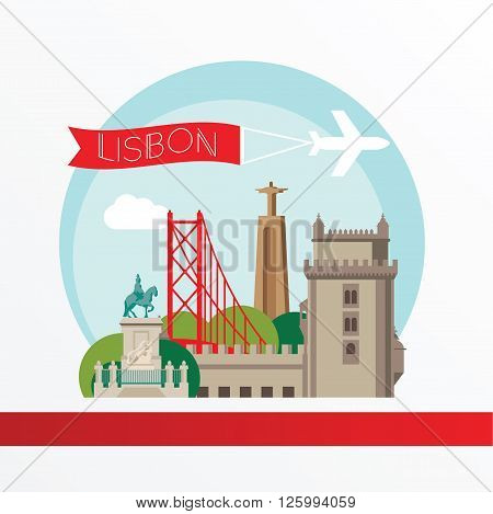 Lisbon, detailed silhouette. Trendy vector illustration, flat style. Stylish colorful  landmarks. The concept for a web banner. Belem Tower - The symbol of Lisbon