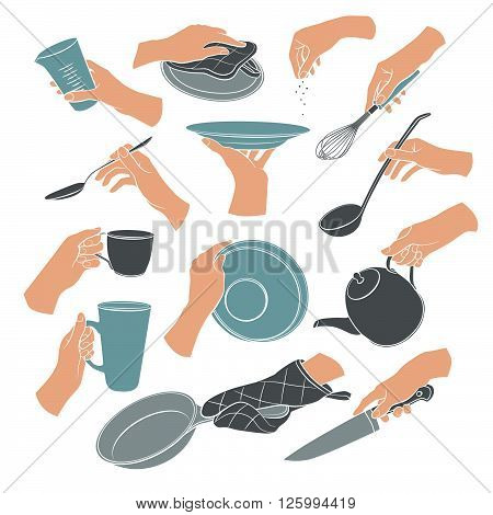 Cooking hands in flat stile isolated on white background. Woman hands holding kitchen items. Teapot cup knife spoon ladle lid whisk plate pan.