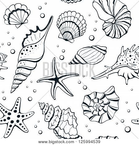 Seashells Seamless Background