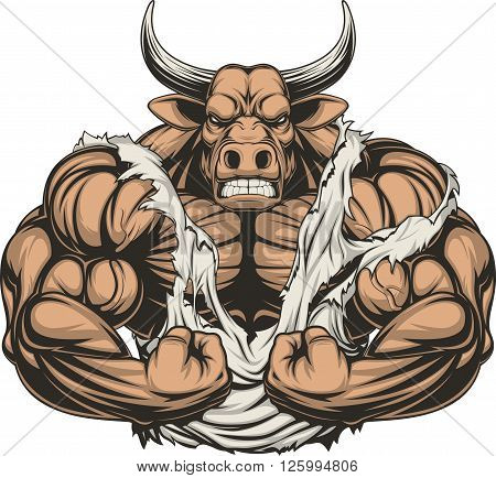 Vector illustration of a strong bull with big biceps on a white background