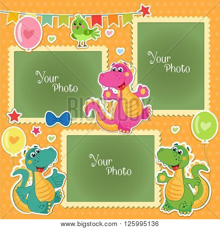 Photo Frames For Kids With Dinosaurs. Decorative Template For Baby Family Or Memories. Scrapbook Vector Illustration. Birthday Children'S Photo Framework - Stock Vector. Photo Frames Collage.