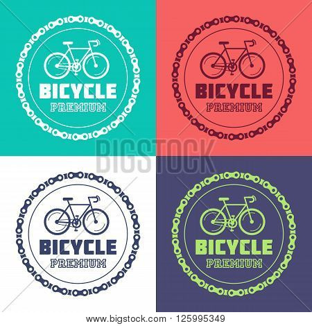 Set of Bike station and parking vector with the hipster style modern urban bike in the center of illustration. Collection of 100% vector easy to edit illustrations.