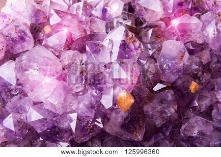 Detailed natural amethyst crystallized structure