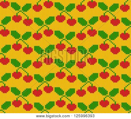 Knitted pattern of fruits of cherry on a yellow background. Handwork ornament. Seamless pattern. Vector illustration.