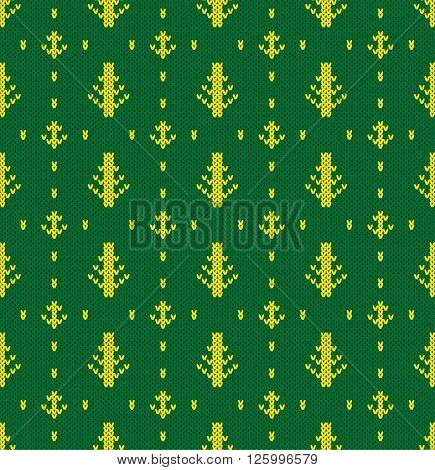 Knitted pattern of forest trees. Concept of habitat. Handwork ornament. Seamless pattern. Vector illustration.