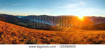 Sunrise In Autumn Carpathian.