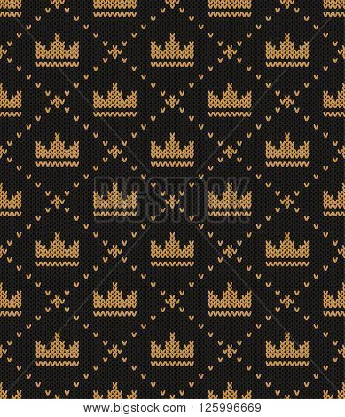 Knitted pattern of a crown on a black background. Concept of a symbol of abundance wealth welfare. Handwork ornament. Seamless pattern. Vector illustration.