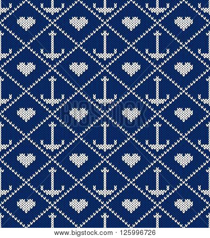 Knitted pattern an anchor and heart on a blue background. Concept of love to sea subject. Handwork ornament. Seamless pattern. Vector illustration.