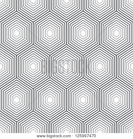 Seamless pattern. Modern stylish geometric texture with regularly repeating linear hexagons. Vector element of graphic design