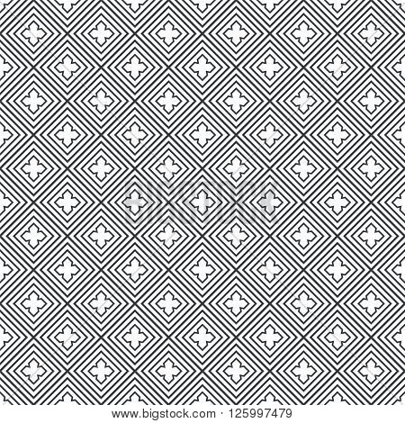 Seamless pattern. Modern stylish geometric texture with regularly repeating linear rhombuses diamonds crosses. Vector element of graphic design