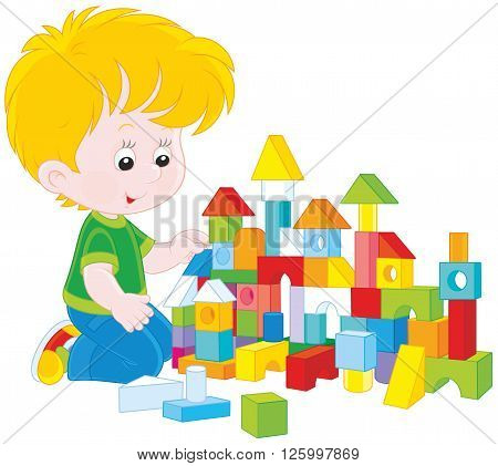 Vector illustration of a little boy constructing a toy house with colored bricks