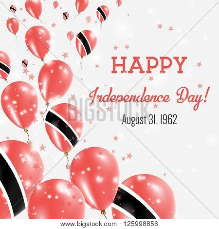 Trinidad And Tobago Independence Day Greeting Card. Flying Balloons In Trinidad And Tobago National