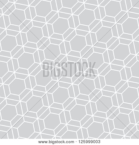 Monochrome seamless pattern. Modern stylish geometric texture with regularly repeating linear hexagons. Vector element of graphic design