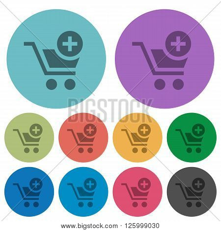 Color add to cart flat icon set on round background.