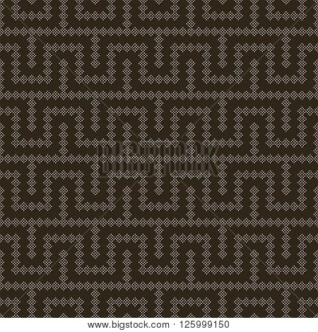 Vector seamless pattern. Modern stylish texture. Regularly repeating geometric tiles with small dots dotted zigzags waves. Abstract seamless background. Contemporary design