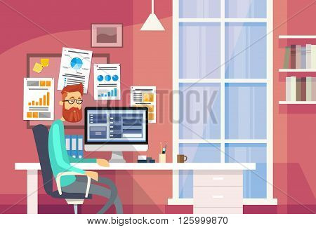 Man Sitting Desk Creative Office Businessman Working Desktop Computer Interior Flat Vector Illustration