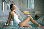 stock photo of day care center  - Beautiful woman on a spa day - JPG