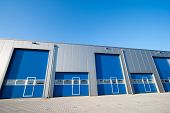 picture of roller shutter door  - Blue industrial Unit with roller shutter doors - JPG