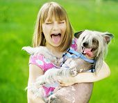 picture of laughable  - Funny Girl and Dog - JPG