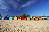 pic of beach hut  - colorful beach huts at brighton beach near melbourne australia - JPG