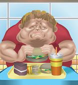 stock photo of obese man  - an obese man in fast food restaurant consuming junk food - JPG