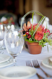 picture of flower pot  - Formal table arrangement with a floral centerpiece - JPG