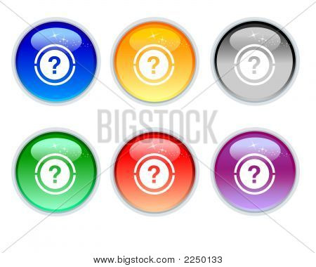 Six Crystal Question Icons And Button