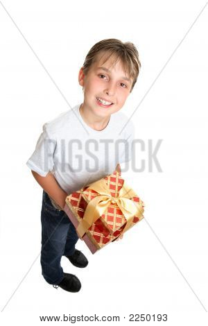 Child Holding Wrapped Presents Isolated