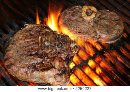Steak Over A Roaring Fire