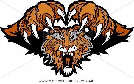 Tiger Mascot Pouncing Graphic