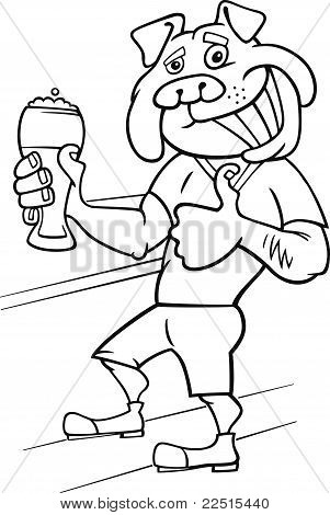 Bulldog Man With Glass Of Beer