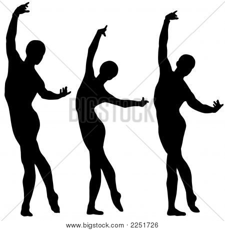 Woman And Two Men Ballet Silhouettes