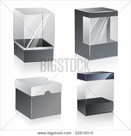 boxes with transparent plastic window