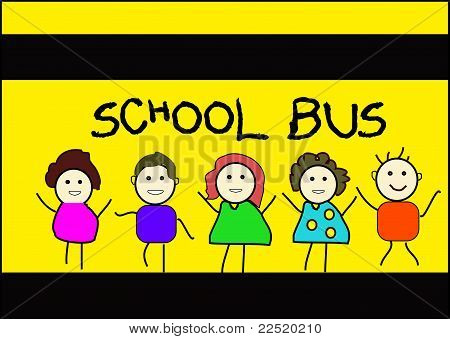 Happy kids and school bus