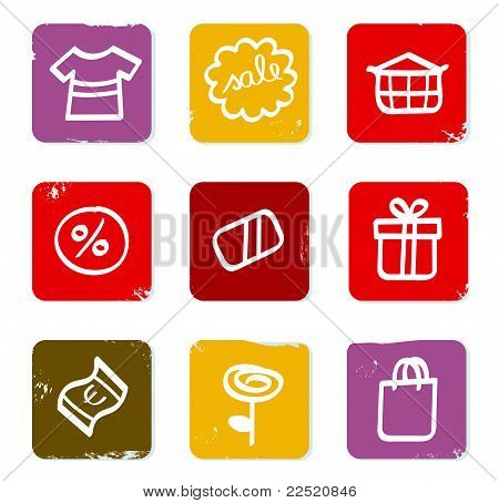 Shopping, Commercial And Sale Doodle Retro Icons Isolated On White.