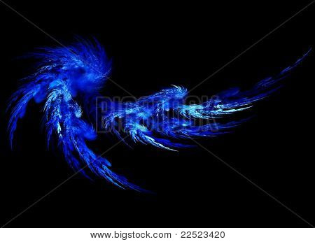 Blue abstract feather
