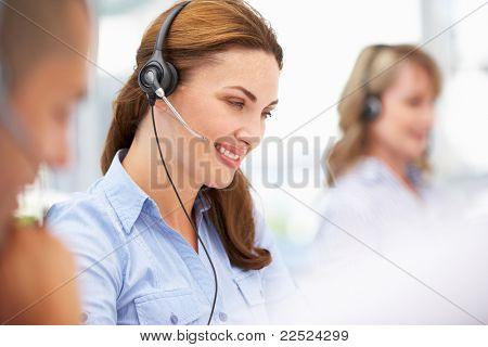 Businesswoman wearing headset