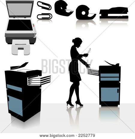Office Business Copiers Woman.Eps