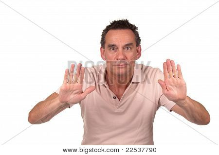 Man Holding up Hands to Stop or Push