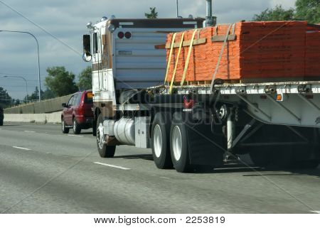Flatbed Semi Truck With Cargo