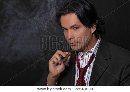 Businessman and the smoke