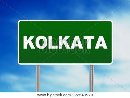 Green Road Sign - Kolkata