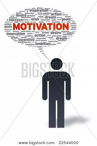 Paper Man With Motivation Bubble